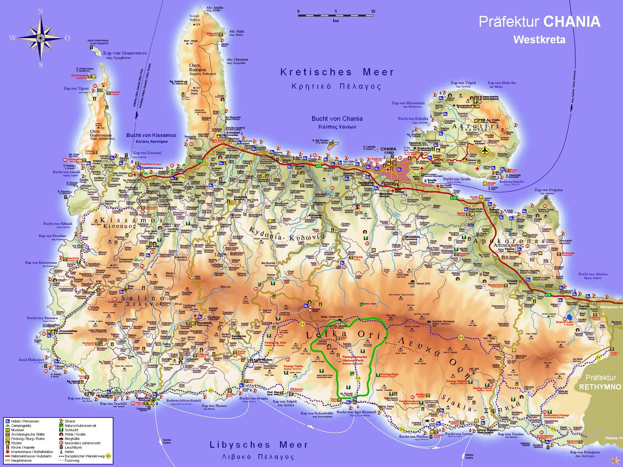 Creta Deluxe Landkarte Von Chania West Kreta